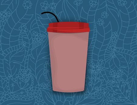 A cup on art pattern vector wallpaper design backgrounds