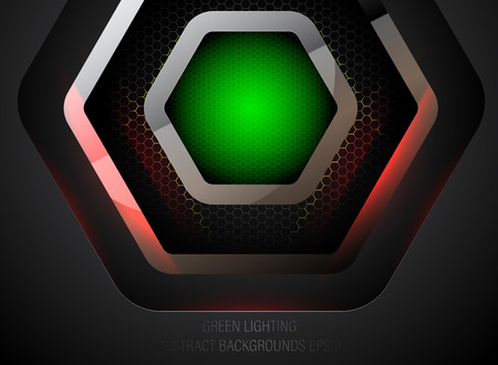 Green lighting pentagon shapes scene vector metal concept backgrounds Illusztráció