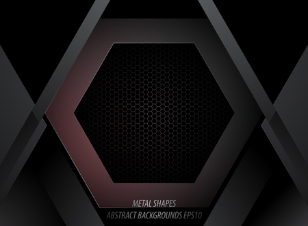 Metal shapes with hexagon in dark scene vector abstract wallpaper backgrounds Çizim