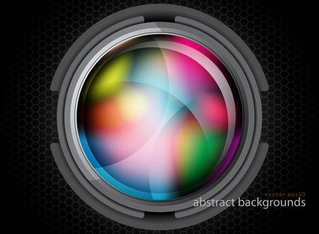 Glossy metal colors circle in dark scene vector graphics wallpaper backgrounds