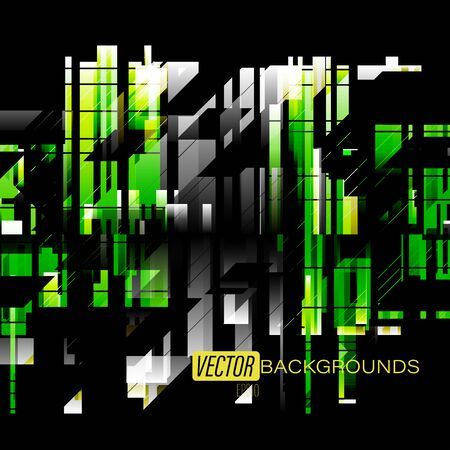Abstract green shapes colors on a black scene vector wallpaper backgrounds Çizim