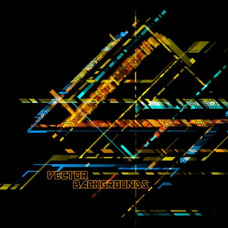 Abstract hexagonal transparent colors on a black vector wallpaper backgrounds