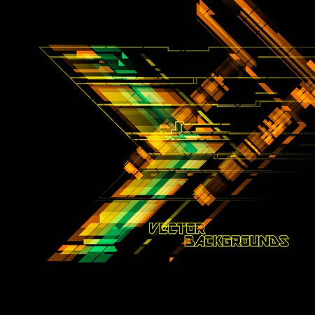 Green and gold angle shapes on a black scene vector concept wallpaper backgrounds Çizim