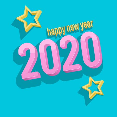 3D Happy new year 2020 scene vector wallpaper on a blue backgrounds