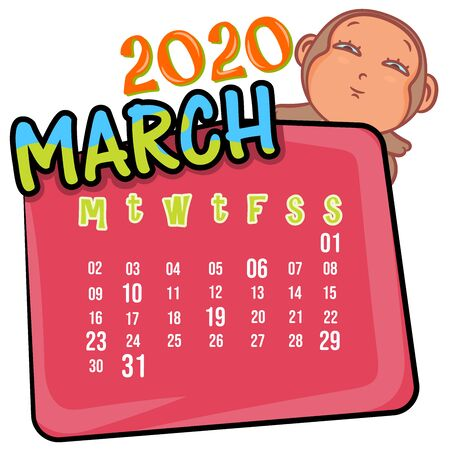March 2020 month calendar on a white with cute monkey cartoon background