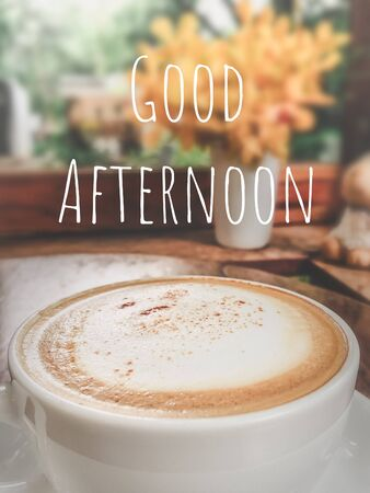 Good afternoon hot coffee cappuccino food and drink backgrounds