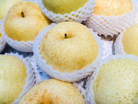 Yellow Chinese pear scene food and fruits backgrounds