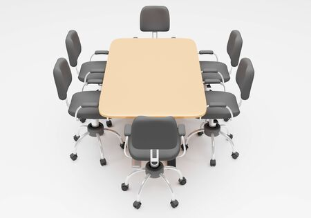 Conference table with office chair 3d render business wallpaper background