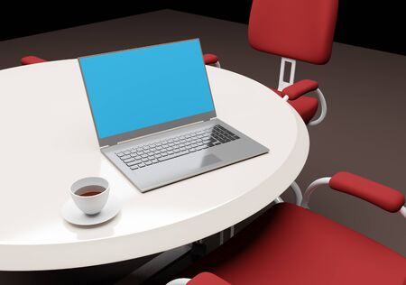 Laptop with white cup coffee on meeting table 3d render business wallpaper background Zdjęcie Seryjne