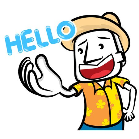 White man cartoon say hello scene vector wallpaper background Vettoriali