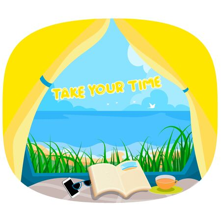 Take your time summer holiday scene vector wallpaper background