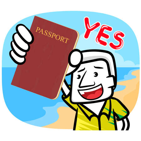 White man showing passport gesture scene vector travel background Illusztráció
