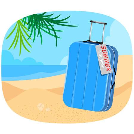 Blue suitcase on the beach vector summer holiday backgrounds Illusztráció