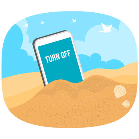 Turn off mobile phone concept vector travel wallpaper background