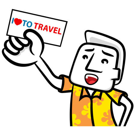 I love to travel white man cartoon vector on a white background Ilustrace