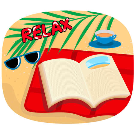 Relaxing on the beach vector cartoon concept background