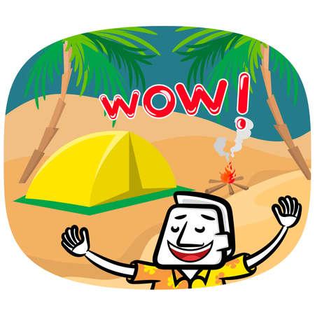 White man cartoon very happy vector summer holiday background Illusztráció