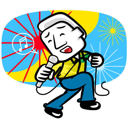 White man cartoon very happy sing and dance scene vector wallpaper background
