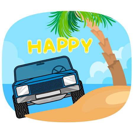 Blue car on the beach scene vector summer holiday wallpaper background Illusztráció