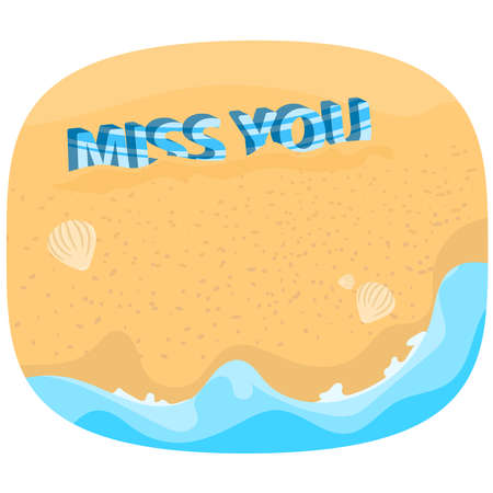 Miss you text on the beach vector seascape wallpaper background