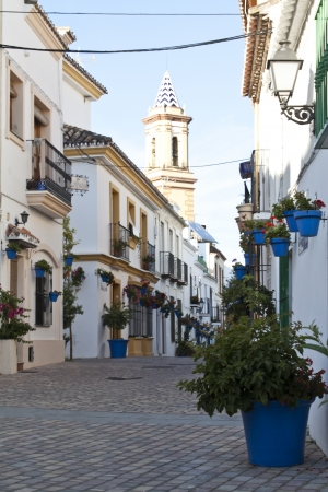 Typical white andalusian village in malaga with plant pots photo