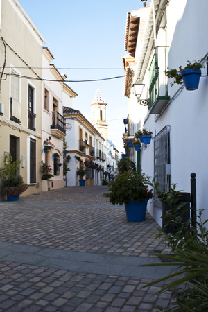 andalusian: Typical white andalusian village in malaga with plant pots