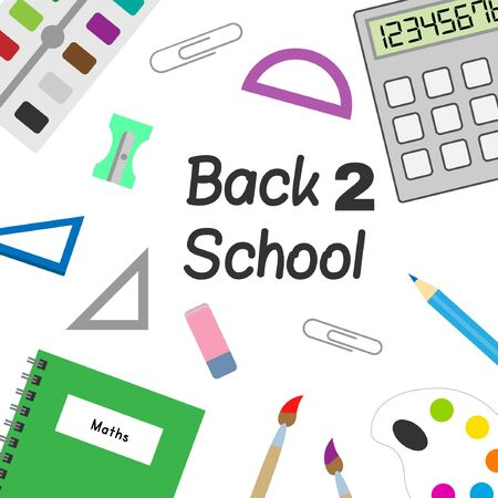 Back to school items, supplies, doodles and elements