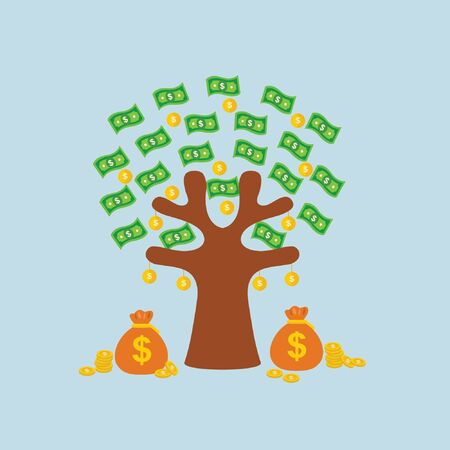 Growing money tree vector illustration cartoon. Businessman shaking tall cash tree with dollar banknotes and golden coins. Successful flying down falling on ground and business development, revenue, m