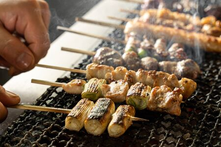 The image of grilling yakitori with a net 写真素材