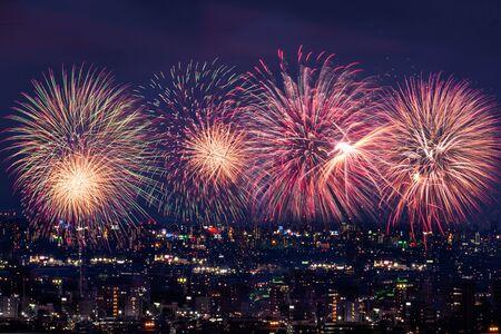 L'immagine dei fuochi d'artificio che si alzano in città di notte Archivio Fotografico