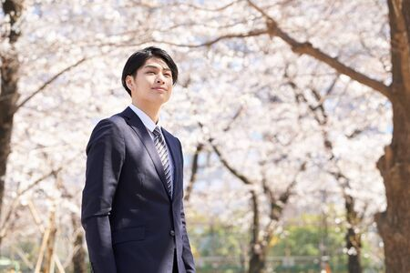 Japanese male businessman standing with a smile against the background of cherry blossoms