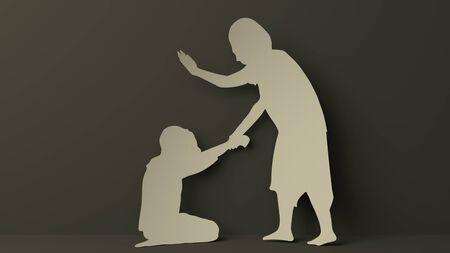 Mom and Child Domestic Violence Фото со стока
