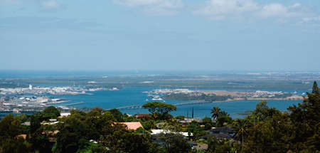 Pearl Harbor from the top of a hill in Hawaii