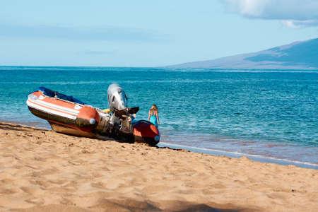 Boats on Ka'anapali Beach in Maui, Hawaii
