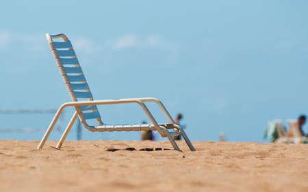 Beach chair on the sandy beach