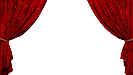 3D illustration of red curtain with no background