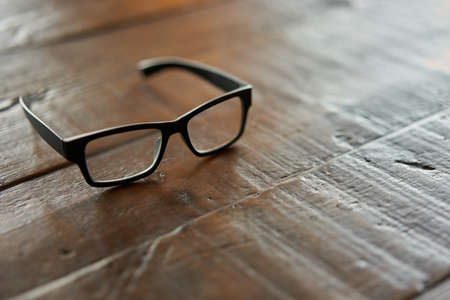 Glasses placed on a wood table