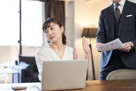 Asian woman businesswoman refusing job