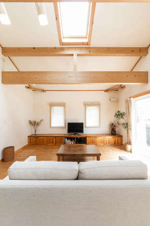 Living room of a house designed with wood
