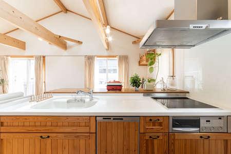 System kitchen with wooden design