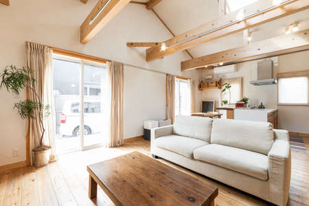 Living room of a house with a country-style design Imagens