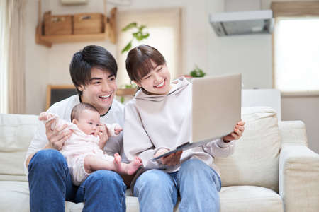Asian family shows baby to relatives online