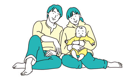 Illustration of 3 parents and children Illustration