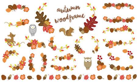 Fashionable frame set of autumn deciduous leaves Illustration