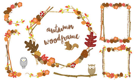 Autumn Deciduous Fashionable Frameset Illustration