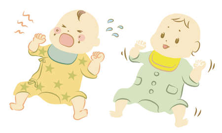 Illustration of a baby on his back