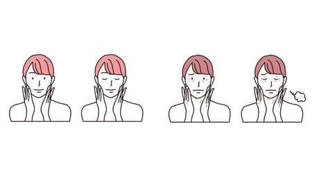 Woman Ding Facial Massage Illustration