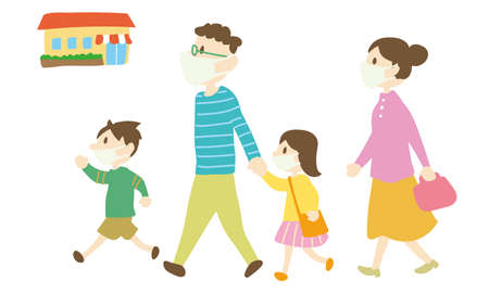 a family who goes out wearing masks Illustration