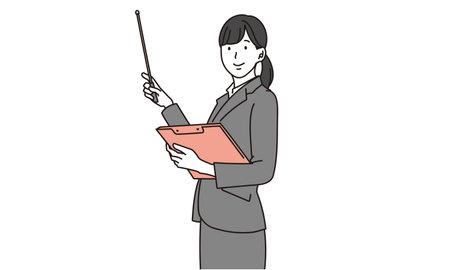 Businesswoman explaining with instruction stick