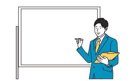 Businessman explaining on whiteboard